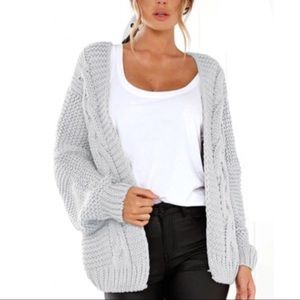 Sweaters - 😧ONLY 1 LEFT😧 Light GRAY Cable Knit cardigan